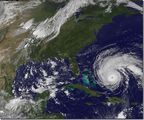 NASA GOES 13 satellite image showing the US east coast and Hurricane Earl on September 1, 2010 13:10 UTC.